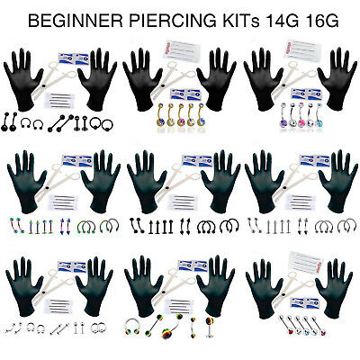 PRO Body Piercing Kit 14G 16G 18G Body Jewelry Scissors Glows Needles Eyebrow