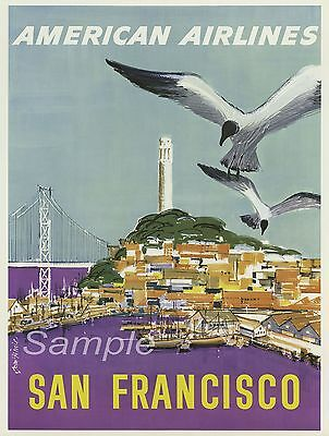 SF02 VINTAGE SAN FRANCISCO UNITED AIR LINES TRAVEL A4 POSTER PRINT