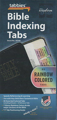 Tabbies Bible Indexing Tabs 80 Rainbow Colored Tabs Old & New Testament NEW