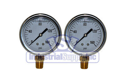 "2-Pk 0-160 psi 2.5"" Hydraulic-Air-Water Pressure Gauge"