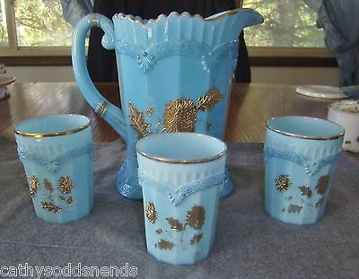 NORTHWOOD BLUE OPAQUE PAGODA CHRYSANTHEMUM SPRIG WATER PITCHER AND TUMBLERS