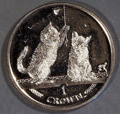 """Isle of Man 2001 """"2 Kittens"""" 1 Crown Coin"""