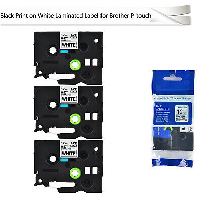 3 Pack Black on White Label Tape 12mm For Brother TZ 231 TZe 231 P-Touch 26.2ft