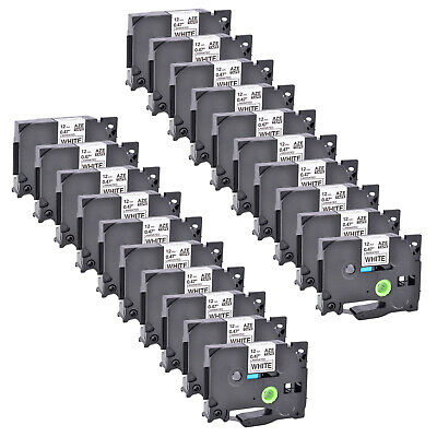20 Pack Black on White Label Tape 12mm For Brother TZ 231 TZe 231 P-Touch 26.2ft