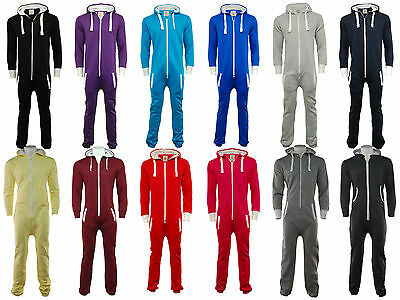 Unisex 1Onesie Plain Zip Up Hooded Tracksuit All In One Piece Jumpsuit All Sizes
