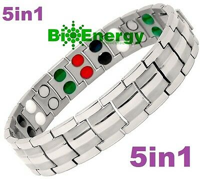 TITANIUM Magnetic Energy  Armband  Power Bracelet Health Bio GERMANIUM 5in1 Bio