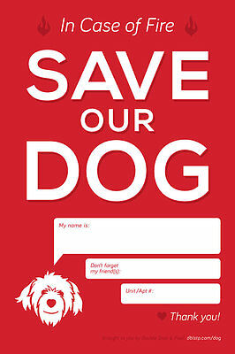 Save Our Dog (In Case of Fire) Sticker