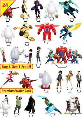 48 Big Hero 6 Cup Cake Bun Toppers Birthday Party Decorations Edible STANDUP