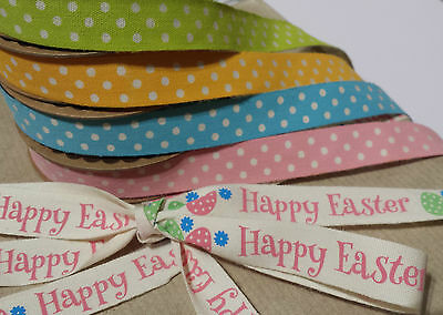 5m Roll Cotton Easter Fabric Ribbon Egg Polka Dot Spot Pastel Pink Blue Green