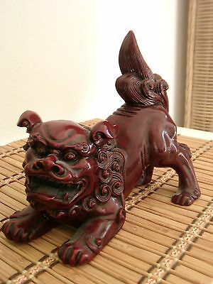 VTG Large Rich Red Stone Resin FOO DOG Statue Made in Japan - c 1960s/1970s