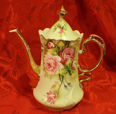 LEFTON HERITAGE PORCELAIN TEA POT LIGHT GREEN W/HAND PAINTED ROSE PATTERN-MARKED