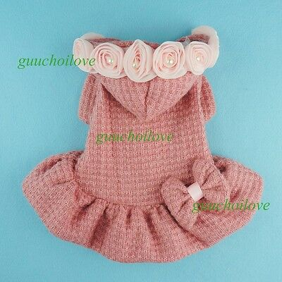 """14""""Chest Pink Rose Dog Dress Small Pet Clothes Winter Puppy Coat Hooded Sweater"""