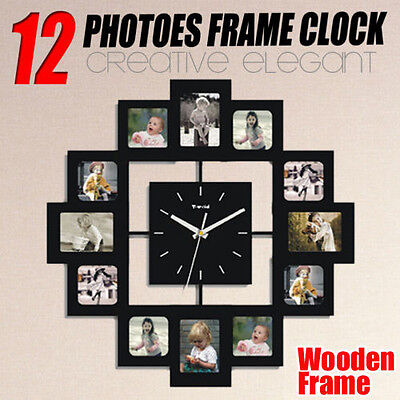 12 Mutil Personalized Family Pictures Wall Clock Photo Frame Home Decoration