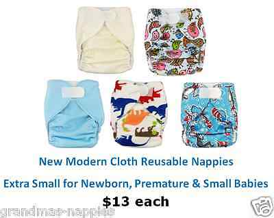 Modern Cloth Reusable Nappies - Extra Small for Newborn Premature & Small Babies