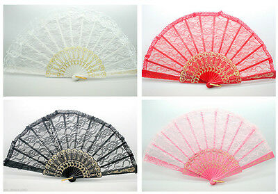 Victorian Lace Embroidered Fabric Folding Hand Held Fan Wedding Party Gift Pick