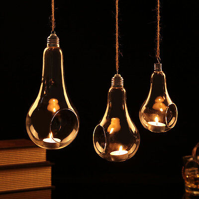 Clear Glass Hanging Bulb Lamp Candle Holder for Tealight / Vase Wedding Party