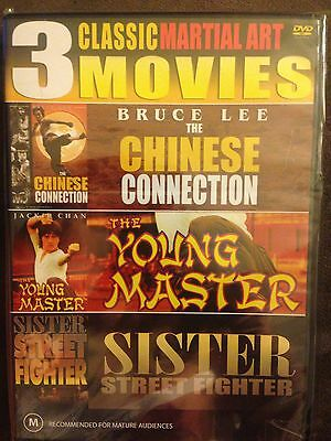 3 Classic Martial Arts Movies. Bruce Lee. Jackie Chan. Sister Street Fighter.