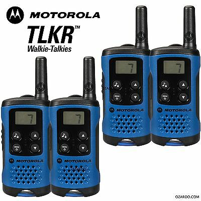 4 x Motorola TLKR T41 2 Way Walkie Talkie Set PMR 446 Radio Kit - Blue Quad Pack
