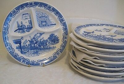 "8 VINTAGE CHINA PLATES BY IROQUOIS U.S.A. DIVIDED 10"" DINNER PLATES"