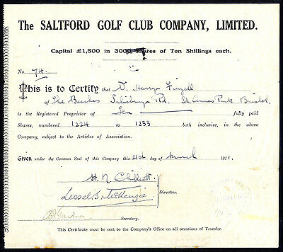 Saltford Golf Club Co. Ltd., 10/- shares, 1921.