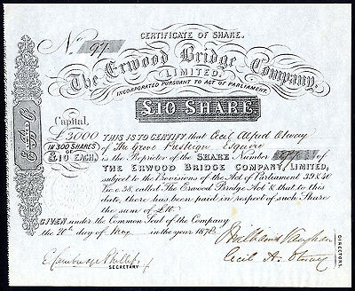Erwood Bridge Co. Ltd., £10 share, 1878, Powys, Wales.