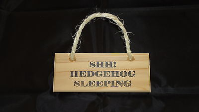 WOODEN PLAQUE SIGN HANGING - SHH HEDGEHOG SLEEPING - SHABBY CHIC (6x2) HAND MADE