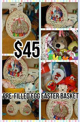 Pre-filled handmade egg easter baskets with name