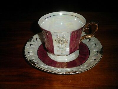 JAPAN CUP & SAUCER.  RED, WHITE LUSTRE, GOLD TRIM