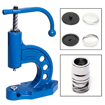 Button machine + Tools 28 + 36, Buttons with Fabric covering, Button press