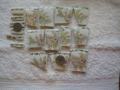 18 ANTIQUE BEAUTIFUL PINK ROSE VICTORIAN FLORAL CHINA MOSAIC TILES