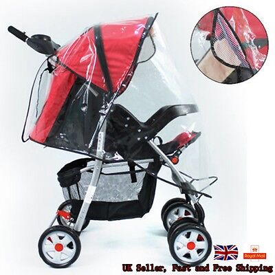 Quality Universal Buggy Pushchair Pram Clear Raincover Stroller Doll Rain Cover