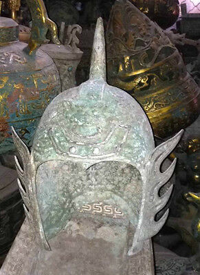 Chinese bronze helmets ancient Armour silver plating sharp top old collectibles