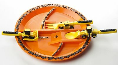 Constructive Eating set of 3 Construction Utensils with Construction Plate