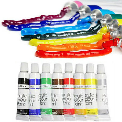 Acrylic Nail Art Paint Liquid Kit 8 Full Professional Tubes 3D Painting UK