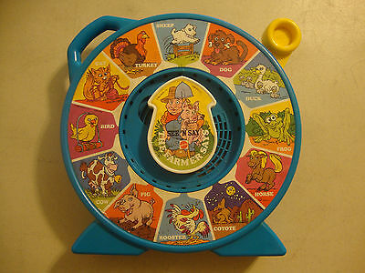 """1989 MATTEL SEE N SAY THE FARMER SAYS 12 ASSORTED ANIMAL SOUNDS LARGE 11"""" DIA"""
