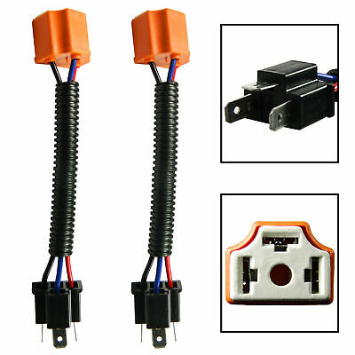 2x H4 9003 Ceramic Extension Wire Harness For High Beam LED Bulbs Heavy Duty Use
