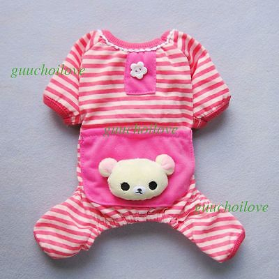 "10""Chest Lovely Pink Dog Clothes XS Pet Pajamas Cotton Shirt Puppy Jumpsuit Coat"