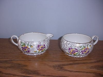 Vintage James Kent Pansy Teacup and Creamer Longton, Made in England #5022