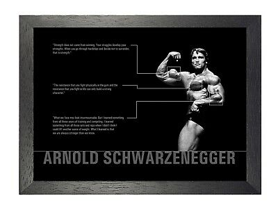 Arnold Schwarzenegger Professional Bodybuilder Motivation Quotes Poster Photo
