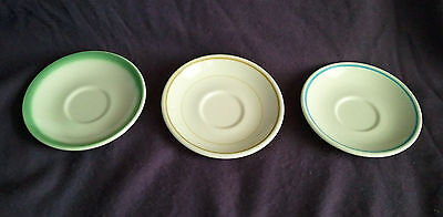 LOT OF 3 Vintage HOMER LAUGHLIN RESTAURANT WARE Saucers plate green yellow blue