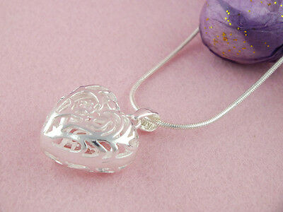 1pc 925 Sterling Silver Heart Hollow Pendant 18inch Necklace + Snake Chain