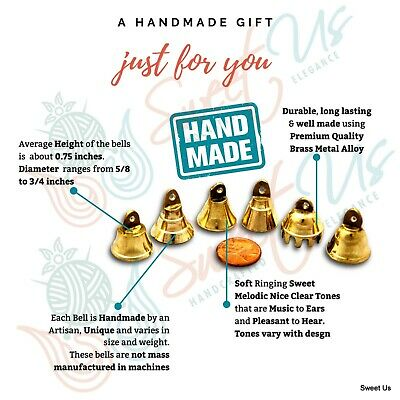 "Brass Bells 1"" High One Dozen Cute Wedding Bells Motorcycle Bells Polished Brass"