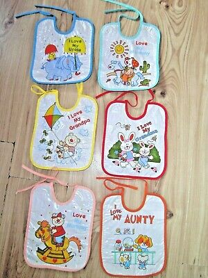 Lot 6 Baby I LOVE MY BIB Painting Messy Waterproof PVC PLASTIC Play/Feeding