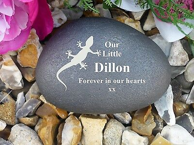 Pet Geko Memorial Pebble - Stone Effect - Personalised - Completely Weatherproof