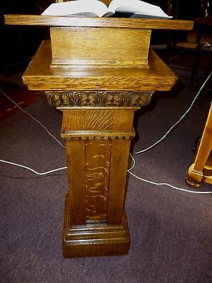 antique oak stand pedestal lecturn Book stand Refinished ornate solid 1/4 sawn