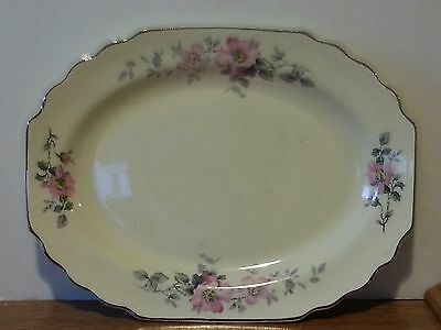 Vintage  W.S. GEORGE LIDO canarytone floral serving  tray plate