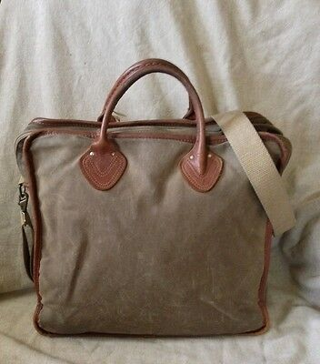 VINTAGE LL BEAN Waxed Canvas/Leather Bag Tote Briefcase