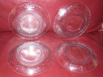Pre Owned EAPG Flint Lacy Florentine Floral Clear Glass Plates 4 Pcs