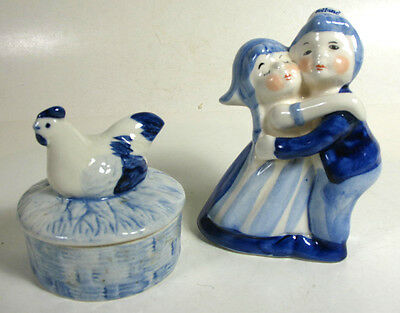 Delft Blue Chicken Trinket & A Figurine of a Couple Hugging