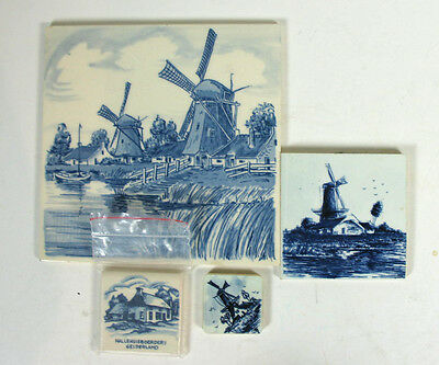 """Delft Blue Lot Of Tiles Distel Spinx Holland 4 Vintage Tiles From 1.5"""" to 6"""""""